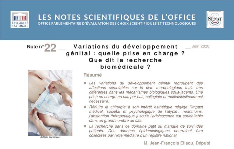 Bioéthique : note scientifique sur les variations du développement génital