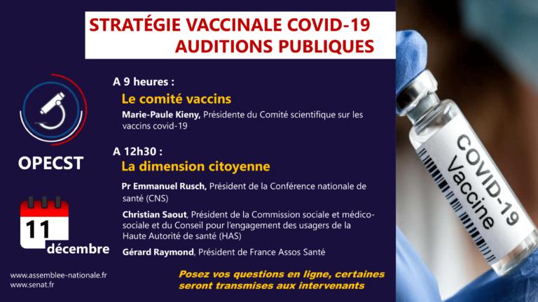 Stratégie vaccinale contre le Covid-19 : auditions – comité vaccins et dimension citoyenne