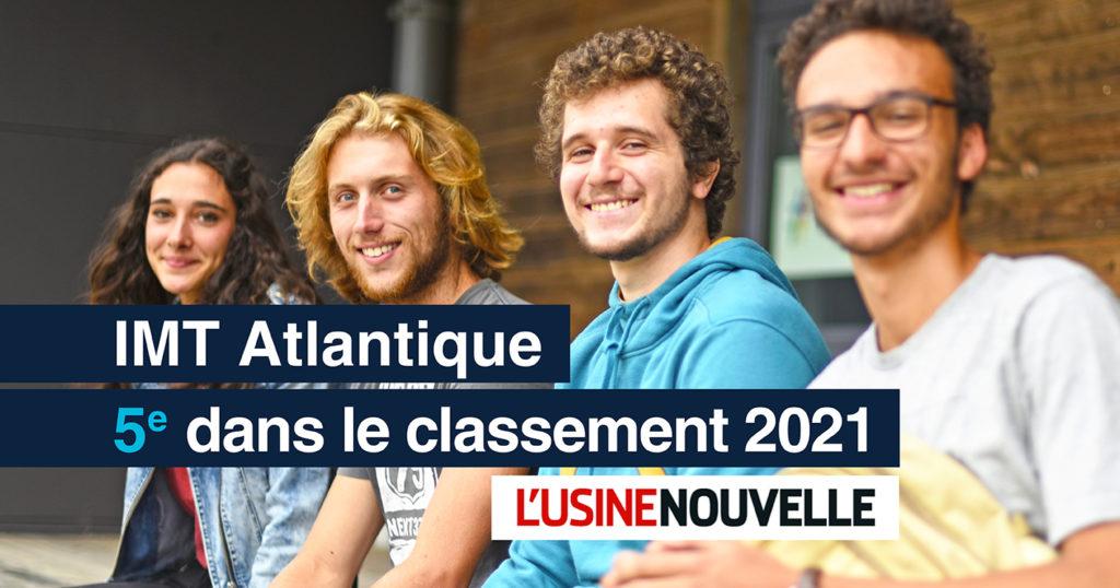 Le Classement 2021 des écoles d'ingénieurs de L'Usine Nouvelle vient d'être publié: 5ème place pour IMT Atlantique!