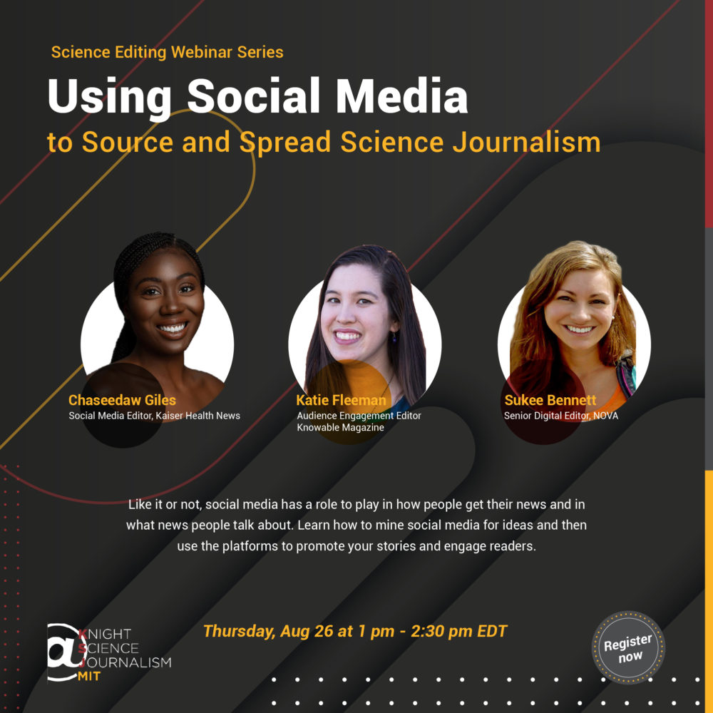 """Webinaire """" réseaux sociaux et journalisme scientifique """" avec le Knight Science Journalism du MIT"""